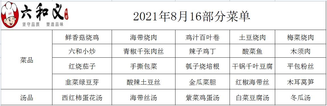 2021年8月16日部分菜单展示